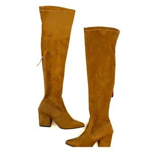 New Brown Over The Knee Boots Heels Shoes sz 8